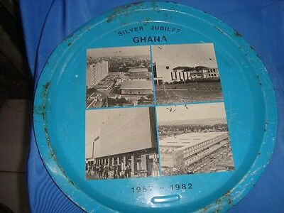 Old Vintage Round Tin Tray from Ghana 1982
