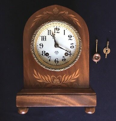 Early 20th Century Marquetry Inlaid Ansonia New York Striking Mantel Clock