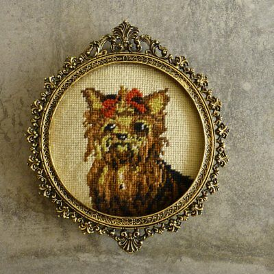 Vintage Small Needlepoint Tapestry Yorkshire Terrier Dog in Round Brass Frame