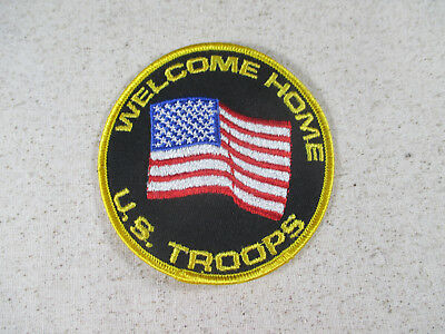 """'Welcome Home US Troops' 4"""" Round Embroidered Patch American Flag Patriotic"""