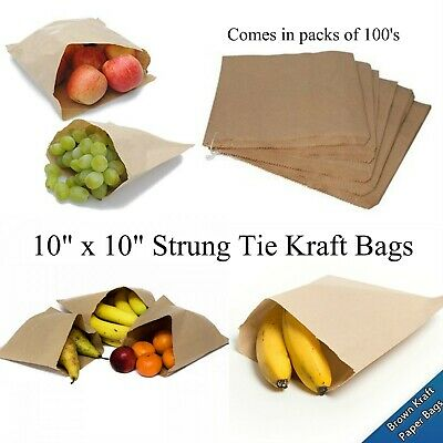 "200 Brown Kraft 10"" x 10"" Strung Paper Bags - Ideal for Fruit Vegetables Sweets"
