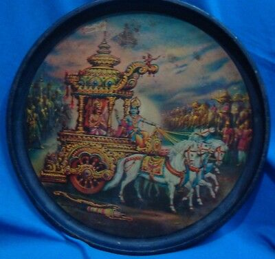 Old vintage Tin Round Colourful tray from India 1930
