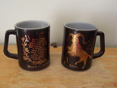 Lot Of 2 - D-Handle Federal Milk Glass Aries Zodiac Coffee Mugs - Black And Gold