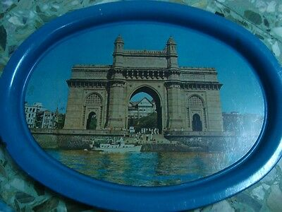 Old vintage Oval Shape Tin Tray form India 1960