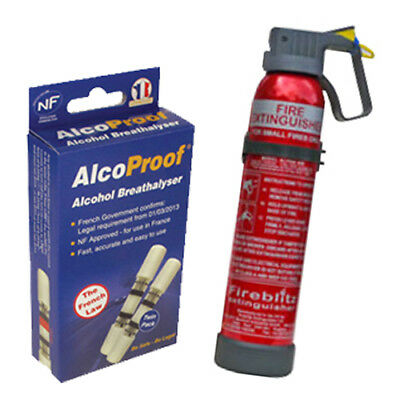 AlcoProof Alcohol Breathalyzer with Fire Extinguisher In-Car Bundle