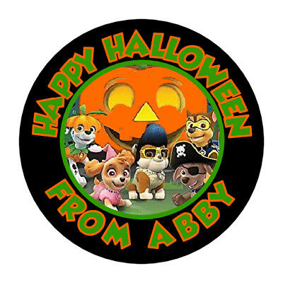 30 Halloween Paw Patrol Stickers Lollipop Labels Favors 1.5 in PERSONALIZE ANY
