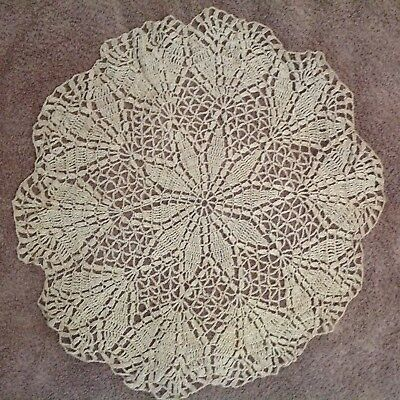 Vintage Hand Crocheted Beige  Lace Round  Large Doily 38cm Diameter