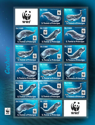 Z08 ST17420d-imperf Sao Tome and Principe 2017 WWF – Sperm whale (imperf. 4 sets