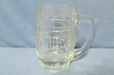 "Vintage Dad's Root Beer Heavy Barrel Shaped Clear Glass Mug 5 1/4"" T Holds 12 oz"