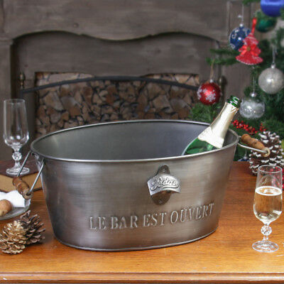 Large Grey Metal Beer Ice Bucket Ideal for Christmas/New Year Party Entertaining