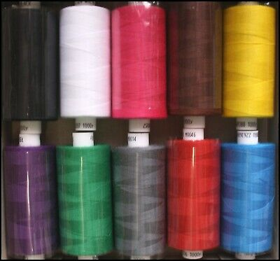 10 x  BRIGHTS COATS MOON SPUN POLYESTER MACHINE AND HAND SEWING THREAD COTTON