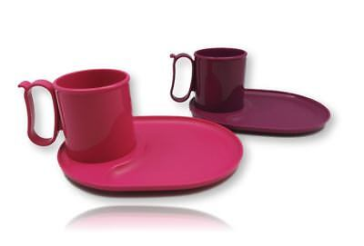 Tupperware Large Deep Plate Round Set of 4 Pink Purple Color 550ml New