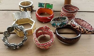 11 Ladies Variety Lot Bangle Cuff Stretchy Bracelets Beaded Multi color Jewelry