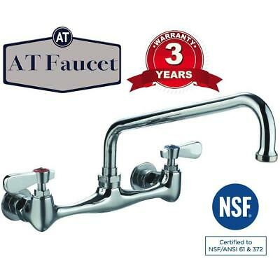 "Commercial Kitchen 8"" Center Wall-Mount Faucet with 12"" Spout 3 Year Warranty"