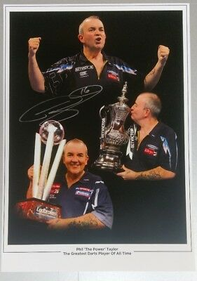 Phil Taylor A3 3 Signed Photo with full COA