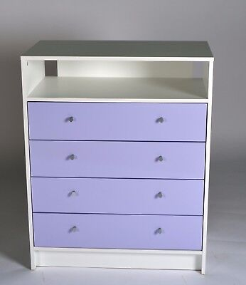 Madison 4 Drawer Chest in White & Lilac Gloss Effect
