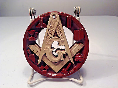 "Masonic Wooden 4"" Round Wall Plaque-Freemasonry-Fraternal Order"