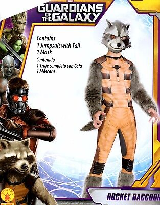 Guardians of the Galaxy Rocket Raccoon Costume Boys Small 6 Medium 8 Large 10/12