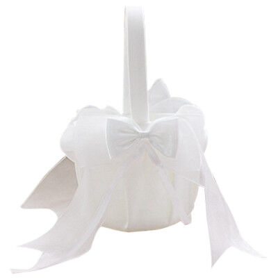Flower Girl Basket Bow tie Wedding Collection Traditional White J2Y2