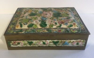 Antique Chinese Repousse Enamel Humidor Lined Box