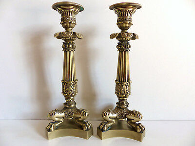 SUPERB PAIR of ANTIQUE EARLY 19th. C. FRENCH EMPIRE BRONZE CANDLESTICKS c1820's