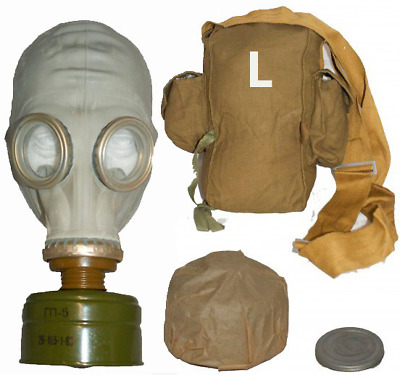 Soviet Russian Gas mask GP-5. Grey rubber. NEW Full set. Size 3