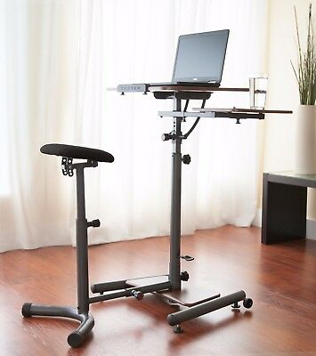 Teeter Sit-Stand Desk - Ergonomic workstation w/stool, side table and foot rest