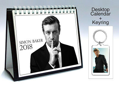 Simon Baker The Mentalist Patrick Jane 2018 Desktop Holiday Calendar + Keyring