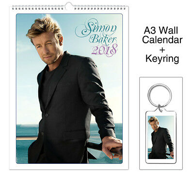 Simon Baker The Mentalist Patrick Jane 2018 Wall Holiday Calendar + Keyring