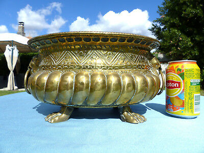 SUPERB LARGE ANTIQUE FRENCH BRASS PLANTER JARDINIERE w. HEADS & PAWS of LIONS