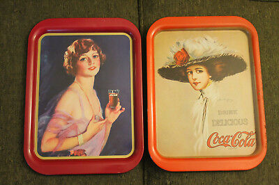 Lot of 2 Reproduction Coca Cola Trays