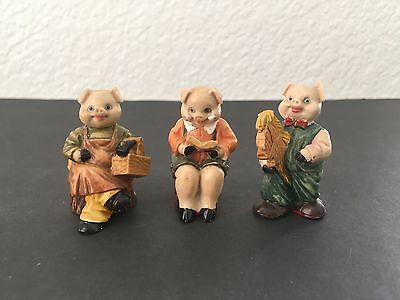 "Set of 3 Vintage Resin Pig Figurines Piggy Family Miniature 1¾"" Tall"