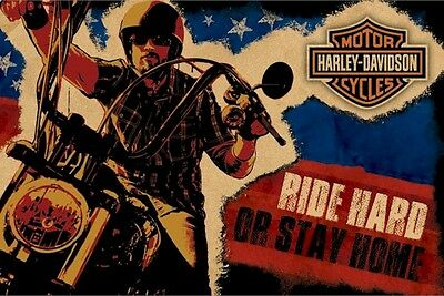 Harley Davidson - Brand New Licensed Poster 91.5 x 61cm - Ride Hard or Stay Home