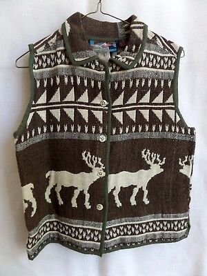 """SHAVER LAKE WOMENS Sz S woven tapestry cotton outdoor Moose button Vest B=38"""""""