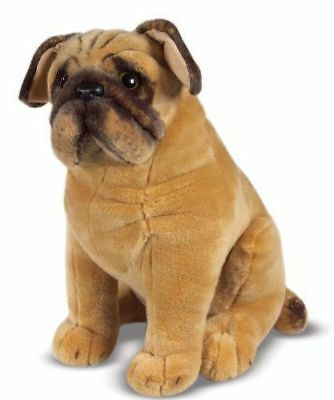New Cute Pug Dog Soft Plush Cuddly Toy Real Life Size Look- GN Enterprises