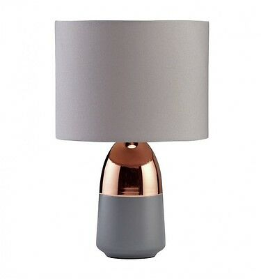 New Touch Lamp Lounge / Bedside Table Light Lamp Flint Gray shade copper base