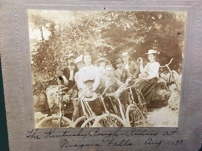 1899 Photograph, Ky Rough Riders @ Niagara Falls on bicycles, Sign. Authentic