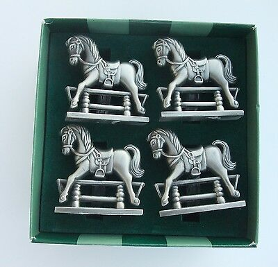 Godinger Pewter Antique Toy Horse Napkin Rings Bombay Company Set of 4