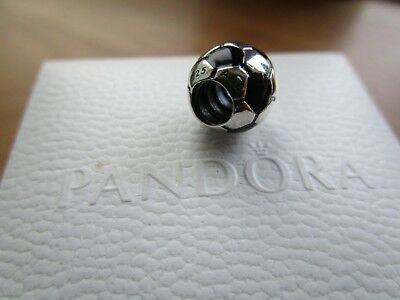 Pandora  Silver & Black Enamel Football Charm 790406  With Pandora Pouch