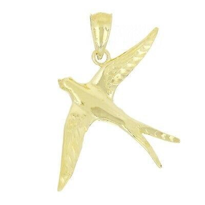 14k Yellow Gold Solid Flying Dove Bird Charm Pendant 2.4g