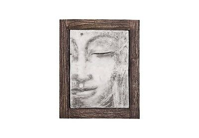 "22"" L Modern Wall Art Antique Concrete Buddha Relief Looking Straight Cera 470"