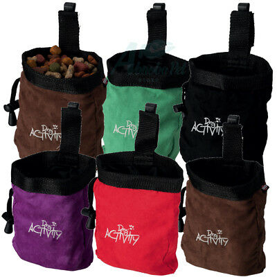 Baggy Snack Bag suede look & clip easy clean ideal Dog show treat bag 5 colours