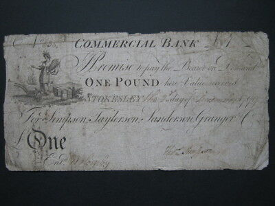 GB Provincial banknote Stokesley Commercial Bank 1799 One Pound