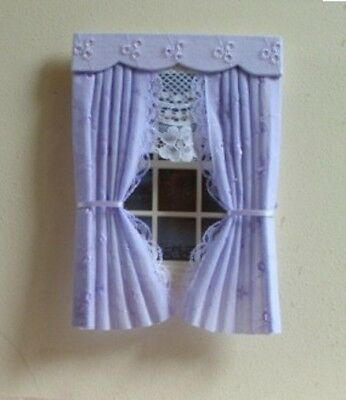 Dolls House Curtains Lilac Broderie Anglaise
