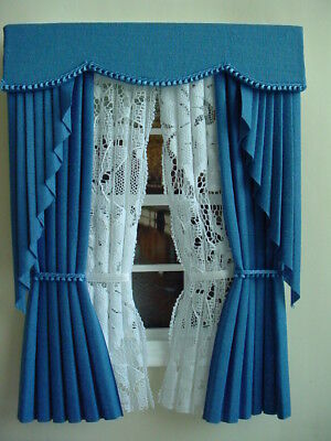 Dollshouse Curtains Royal Blue Swag With White Tied Nets