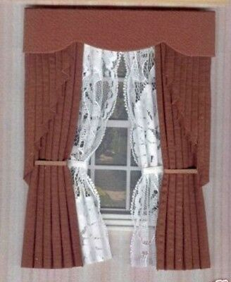 Dollshouse Curtains Brown Swag With White Tied Nets