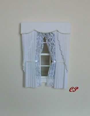 Dollshouse Curtains White  Swag With White Tied Nets