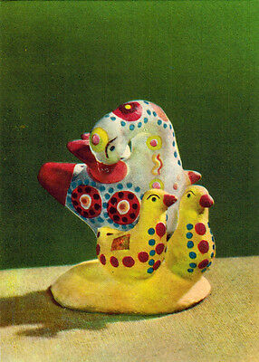 1958 Soviet Russian postcard DYMKOVO TOYS: DUCK WITH YELLOW DUCKLINGS