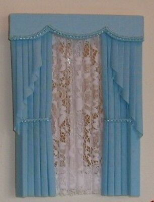 Dolls House Curtains Baby Blue Swag Effect