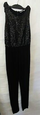 H&M Girls Youth Black Sequined 1 Piece Sleeveless Jumper Jumpsuit Romper 11/12